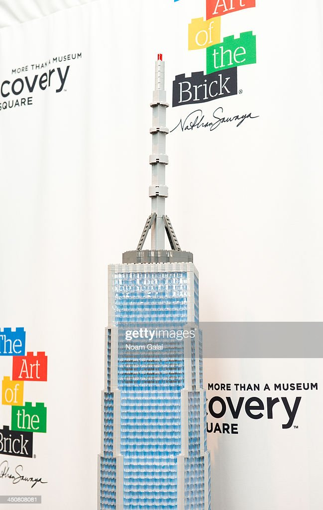 A general view of One World Trade Center LEGO brick sculpture at The Art of the Brick Exhibition at Discovery Times Square Exposition Center on November 20, 2013 in New York City.