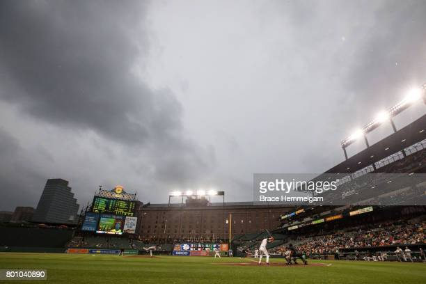 A general view of Oriole Park at Camden Yards between the Minnesota Twins and Baltimore Orioles on May 23 2017 at in Baltimore Maryland The Twins...