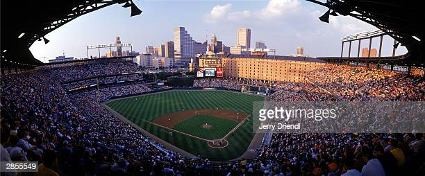 General view of Oriole Park at Camden Yards during the American League game between the Baltimore Orioles and the New York Yankees at Oriole Park at...