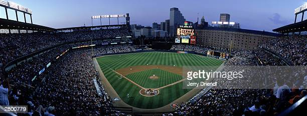 General view of Oriole Park at Camden Yards from home plate upper level at dusk moments after Bernie Williams of the New York Yankees hit a solo home...