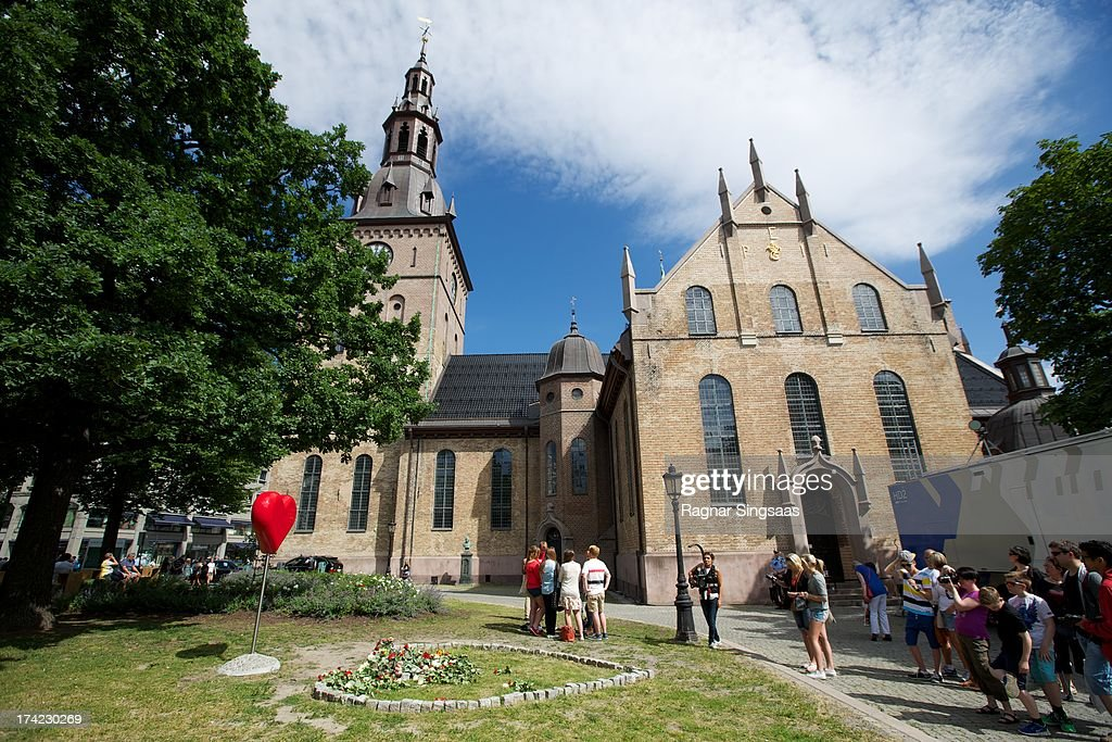 . A general view of Oslo Cathedral during a memorial service for the victims of the 2011 terrorist attacks on July 22, 2013 in Oslo, Norway.