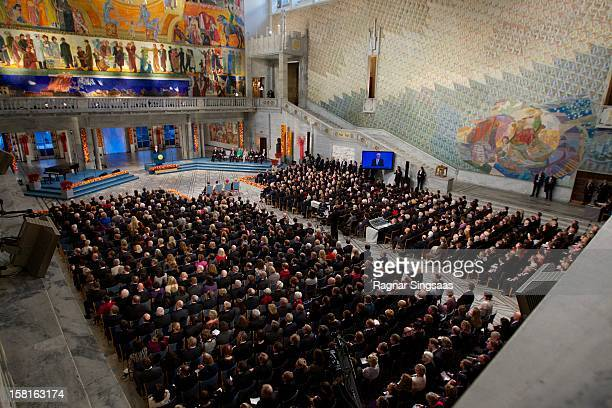 A general view of Oslo City Hall during the Nobel Peace Prize Ceremony at Oslo City Hall on December 10 2012 in Oslo Norway
