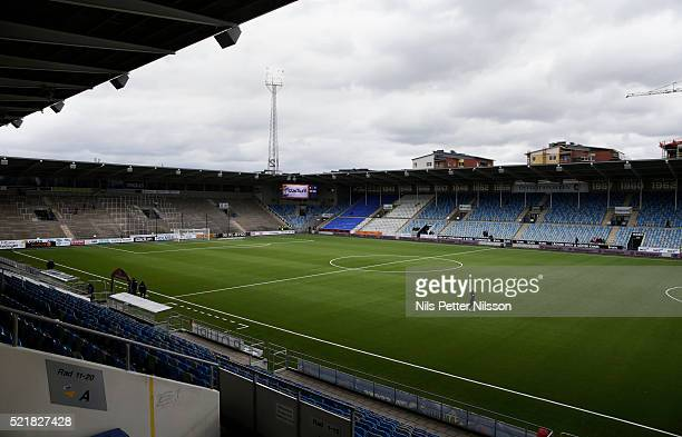 General view of Ostgotaporten ahead of the allsvenskan match between IFK Norrkoping and AIK at Ostgotaporten on April 17 2016 in Norrkoping Sweden