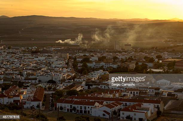A general view of Osuna including the bullring where extras and technicians are working on the HBO TV series 'Game of Thrones' on October 24 2014 in...