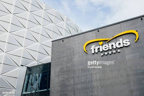 A general view of outside the Friends Arena before the Swedish Allsvenskan League match between AIK and Gefle IF at the Friends Arena on August...