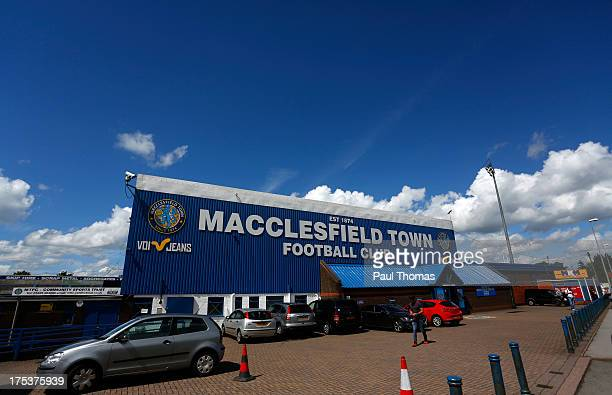 A general view of outside the ground before the Pre Season Friendly match between Macclesfield Town and Stoke City at Moss Rose on August 3 2013 in...