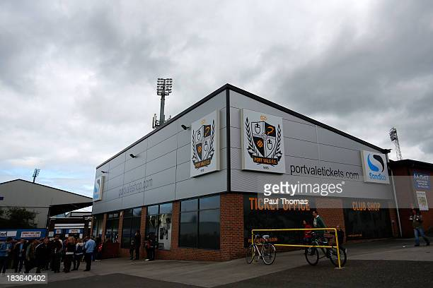 A general view of outside the ground before the Sky Bet League One match between Port Vale and Bristol City at Vale Park on October 05 2013 in...
