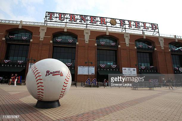 A general view of outside the stadium ahead of the Philadephia Phillies versus Atlanta Braves during their opening day game at Turner Field on April...