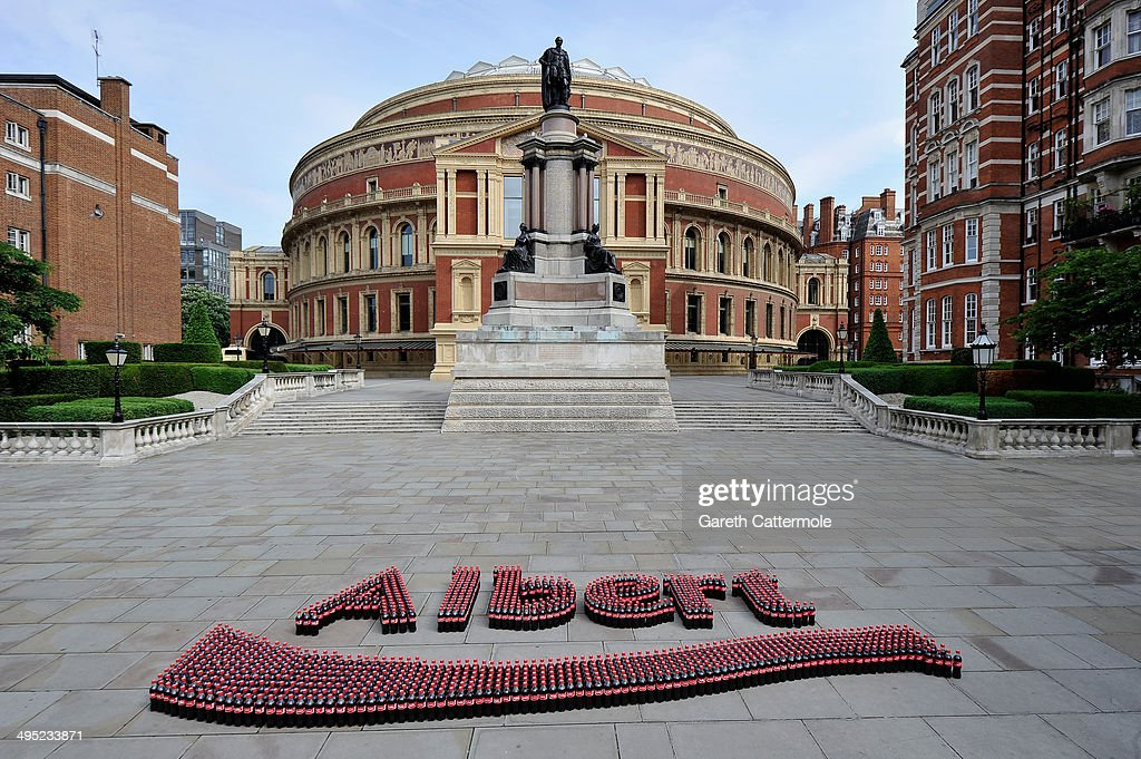 A general view of over 1,000 Coca-Cola bottles spelling out the name 'Albert' as Coca-Cola relaunches Share A Coke in front of the Royal Albert Hall on June 2, 2014 in London, England. Coca-Cola announces that its 'Share a Coke' campaign is back and bigger than last year, with over 1,000 popular British names on bottles this summer - giving everyone from Albert to Zachery the opportunity to Share a Coke with friends and loved ones.