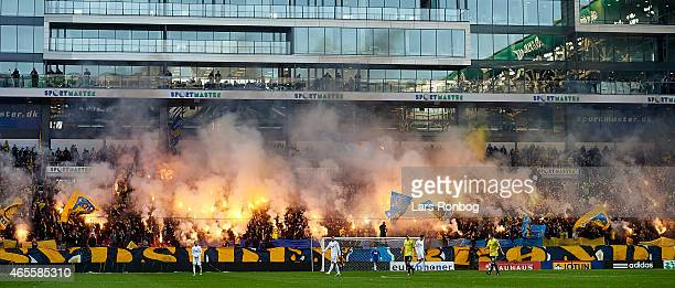 General view of oyrotechs from the Brondby IF fans during the Danish Superliga match between FC Copenhagen and Brondby IF at Telia Parken Stadium on...