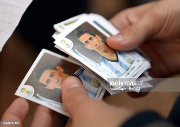 A general view of Panini style stickers which people swap with each other in Porto Alegre Brazil