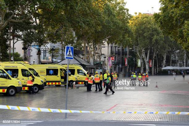 A general view of paramedics at the scene of a terrorist attack in the Las Ramblas area on August 17 2017 in Barcelona Spain Officials say 13 people...
