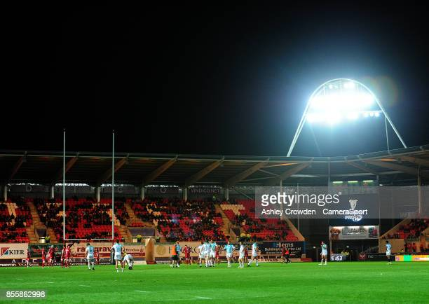 A general view of Parc Y Scarlets home of Scarlets during the Guinness Pro14 Round 5 match between Scarlets and Connacht Rugby at Parc y Scarlets on...