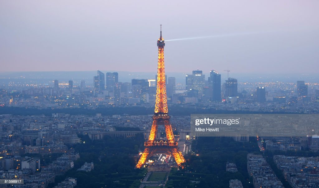 General view of Paris at dusk with the Eiffel Tower prominent on June 10, 2008 in Paris, France.