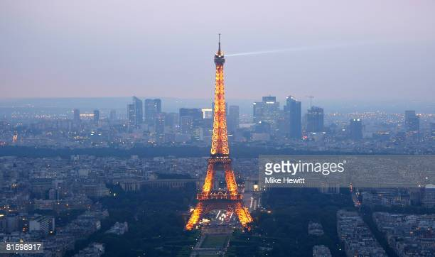 General view of Paris at dusk with the Eiffel Tower prominent on June 10 2008 in Paris France