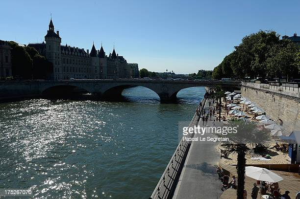 General view of 'Paris Plage' an artificial beach set up on the right bank of the Seine river is seen on August 1 2013 in Paris France