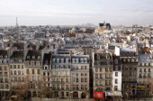 General view of Paris taken from the Georges Pompidou center on January 22 2010 in Paris On the background are the Eiffel Tower and the SaintEustache...