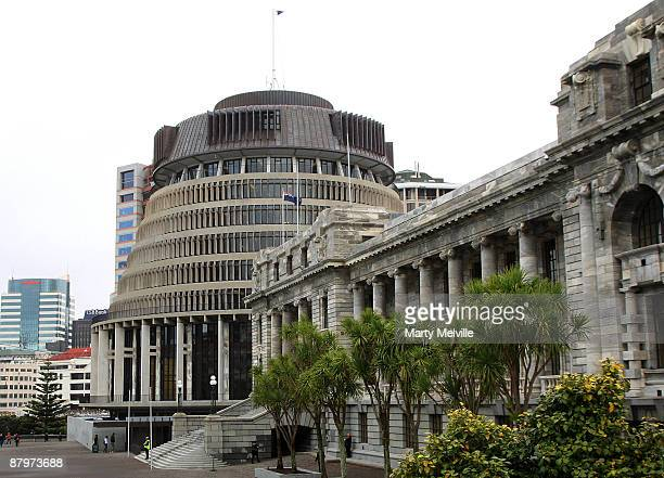 A general view of Parliament is seen on May 26 2009 in Wellington New Zealand The New Zealand budget will be delivered by the Minister of Finance...