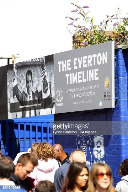 General View of part of the Everton Timeline at Goodison Park
