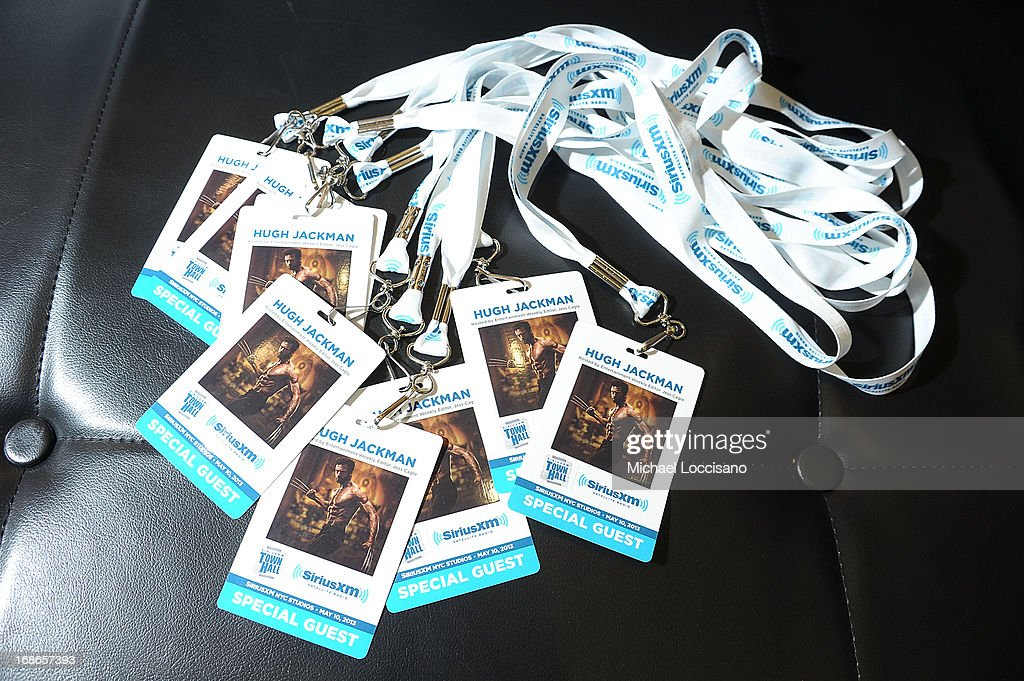 General view of passes for the 'SiriusXM's Town Hall With Hugh Jackman' and moderator Jess Cagle launch of the Entertainment Weekly Radio Channel on May 10, 2013 in New York City.