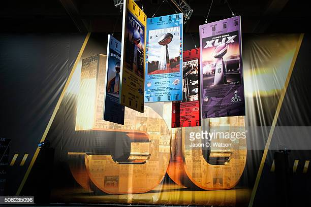 General view of past Super Bowl tickets on display during the NFL Experience exhibition before Super Bowl 50 at the Moscone Center on February 3 2016...