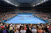 A general view of Pat Rafter Arena can be seen during the Women's finals match between Maria Sharapova of Russia and Ana Ivanovic of Serbia during...