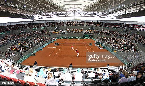 A general view of Pat Rafter Arena is seen as Lleyton Hewitt and Paul Hanley of Australia play their doubles match against Takao Suzuki and Go Soeda...