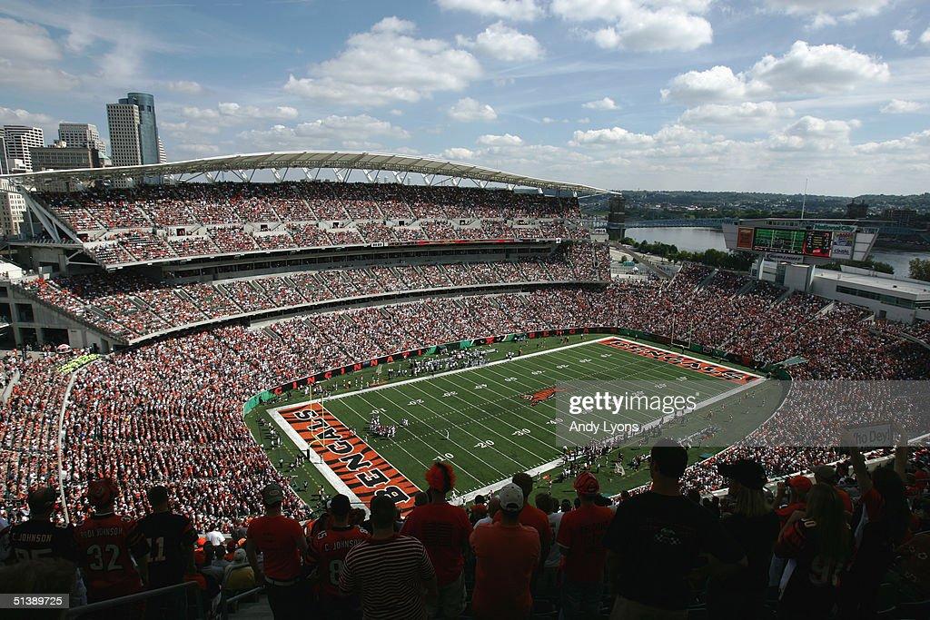 General view of Paul Brown Stadium during the game between the Baltimore Ravens and the Cincinnati Bengals on September 26 2004 in Cincinnati Ohio...
