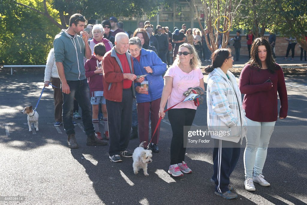 A general view of people queing to vote at the East Gosford Public School in the electorate of Robertson on July 2, 2016 in Gosford, Australia. Voters head to the polls today to elect the 45th parliament of Australia.