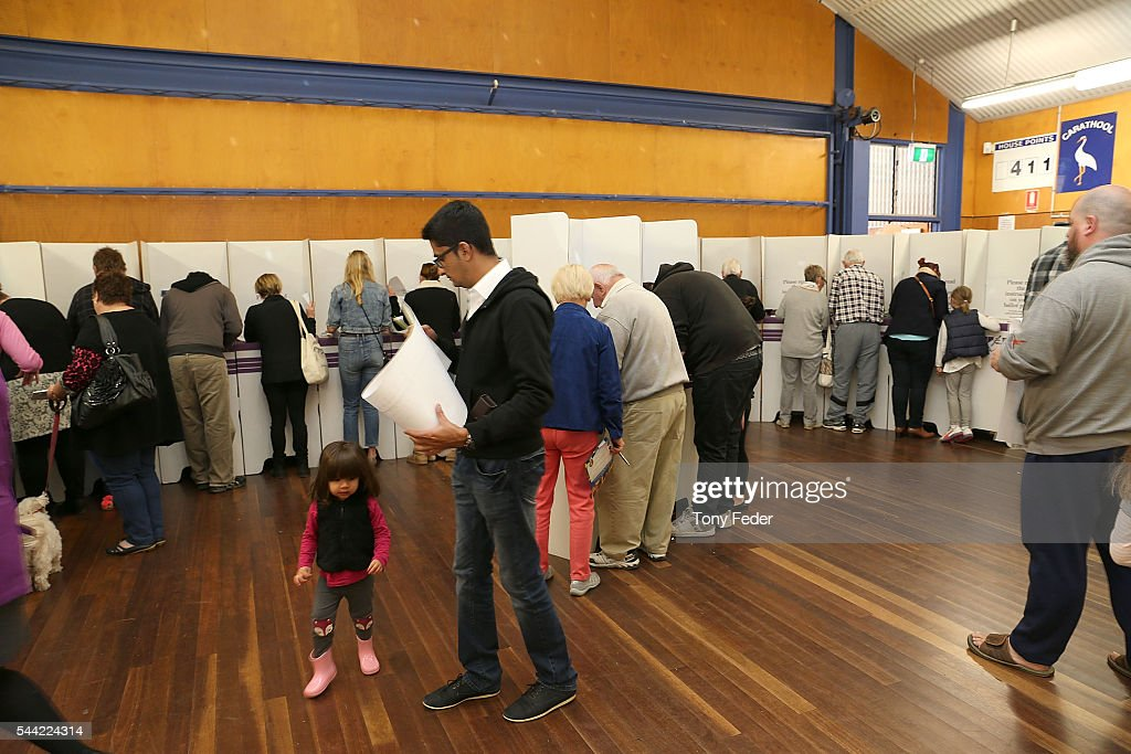 A general view of people voting at the East Gosford Public School in the electorate of Robertson on July 2, 2016 in Gosford, Australia. Voters head to the polls today to elect the 45th parliament of Australia.