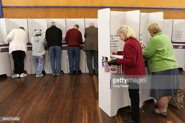 A general view of people voting at the East Gosford Public School in the electorate of Robertson on July 2 2016 in Gosford Australia Voters head to...