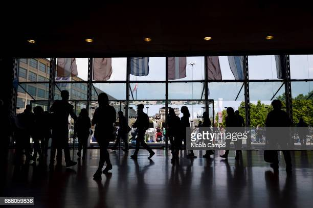 A general view of people walking in Lingotto building during the 30th Turin International Book Fair