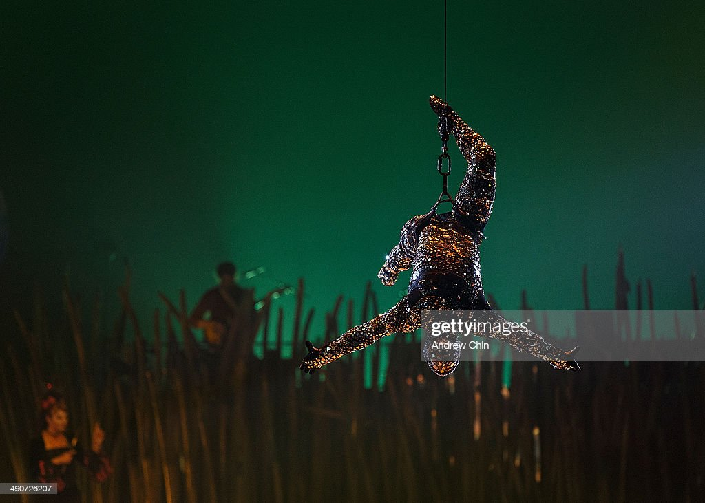A general view of performers onstage during a dress rehersal for Cirque Du Soleil's 'Totem' at Concord Pacific Place on May 14 2014 in Vancouver...