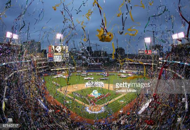 General view of Petco Park as confetti falls before the Final game of the World Baseball Classic between Team Cuba and Team Japan at Petco Park on...
