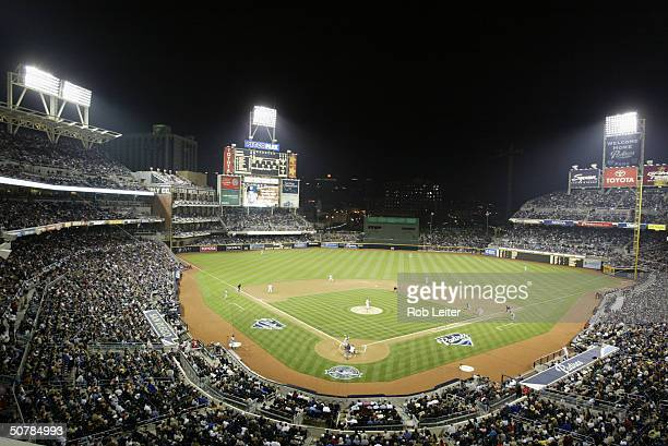 General view of PETCO Park during the home opener between the San Diego Padres and the San Francisco Giants on April 8 2004 in San Diego California...