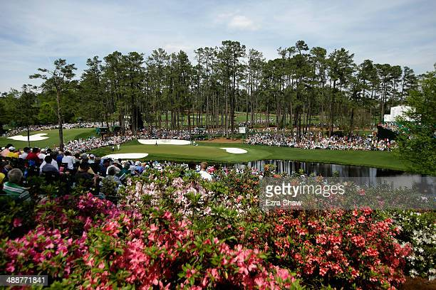 A general view of Phil Mickelson Ernie Els and Justin Rose of England on the 16th hole during the second round of the 2014 Masters Tournament at...