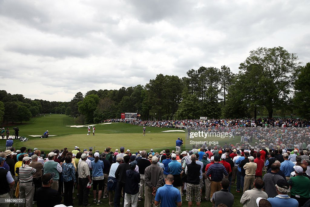 A general view of <a gi-track='captionPersonalityLinkClicked' href=/galleries/search?phrase=Phil+Mickelson&family=editorial&specificpeople=157543 ng-click='$event.stopPropagation()'>Phil Mickelson</a> on the 5th hole during the second round of the Wells Fargo Championship at Quail Hollow Club on May 3, 2013 in Charlotte, North Carolina.