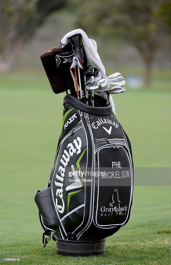 General view of Phil Mickelson's bag during the Pro-Am at the Farmers Insurance Open at Torrey Pines South Golf Course on January 23, 2013 in La Jolla, California.