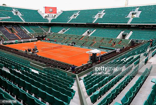 A general view of Philippe Chatrier court ahead of the 2015 French Open at Roland Garros on May 23 2015 in Paris France