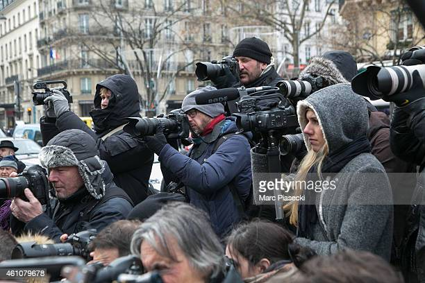A general view of photojournalists during the funeral of journalist Jacques Chancel at SaintGermaindesPres church on January 6 2015 in Paris France