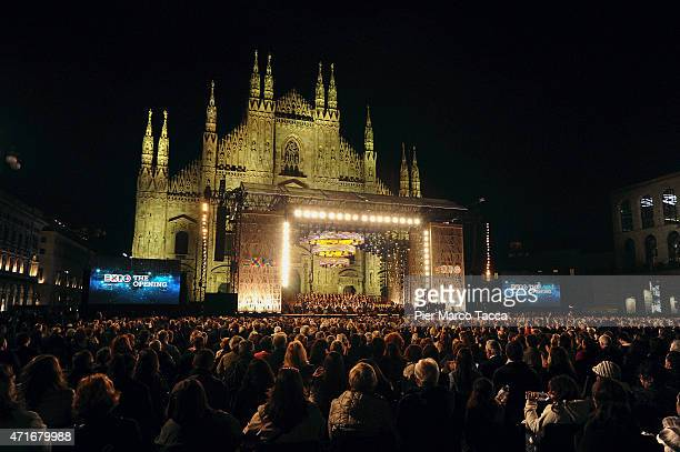 A general view of Piazza Duomo with the choir and orchestra of the Teatro alla Scala during the Opening Event Expo 2015 at Piazza Duomo on April 30...
