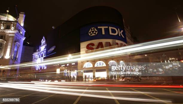 A general view of Piccadilly Circus London with the lights off during Earth Hour