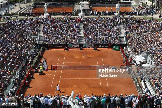General view of Pietrangeli court during the men's second round match between Alexander Zverev of Germany and Viktor Troicki of Serbia on Day Four of...
