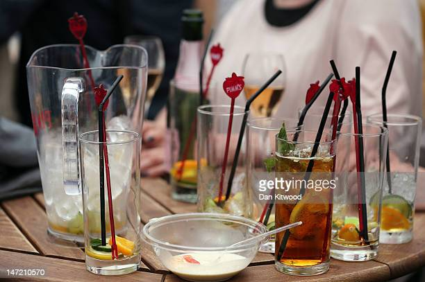 A general view of Pimms beverages on day three of the Wimbledon Lawn Tennis Championships at the All England Lawn Tennis and Croquet Club on June 27...
