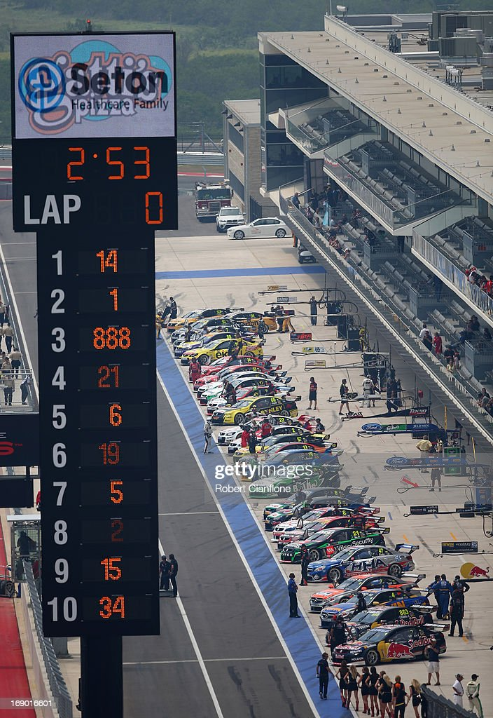 A general view of pit lane prior to the start of race 13 for the Austin 400, which is round five of the V8 Supercar Championship Series at Circuit of The Americas on May 18, 2013 in Austin, Texas.