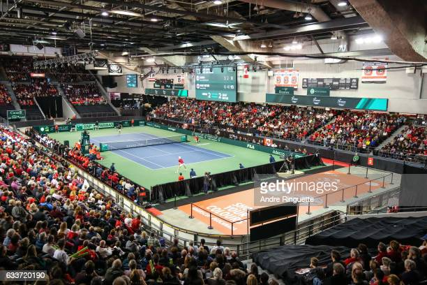 A general view of TD Place Arena the during the singles match between Dan Evans of Great Britain and Denis Shapovalov of Canada on day one of the...