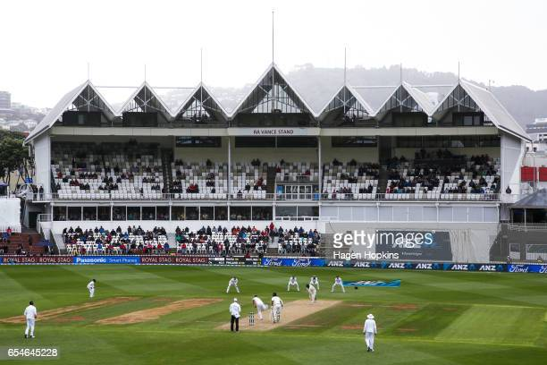 A general view of play and the RA Vance Stand during day three of the test match between New Zealand and South Africa at Basin Reserve on March 18...