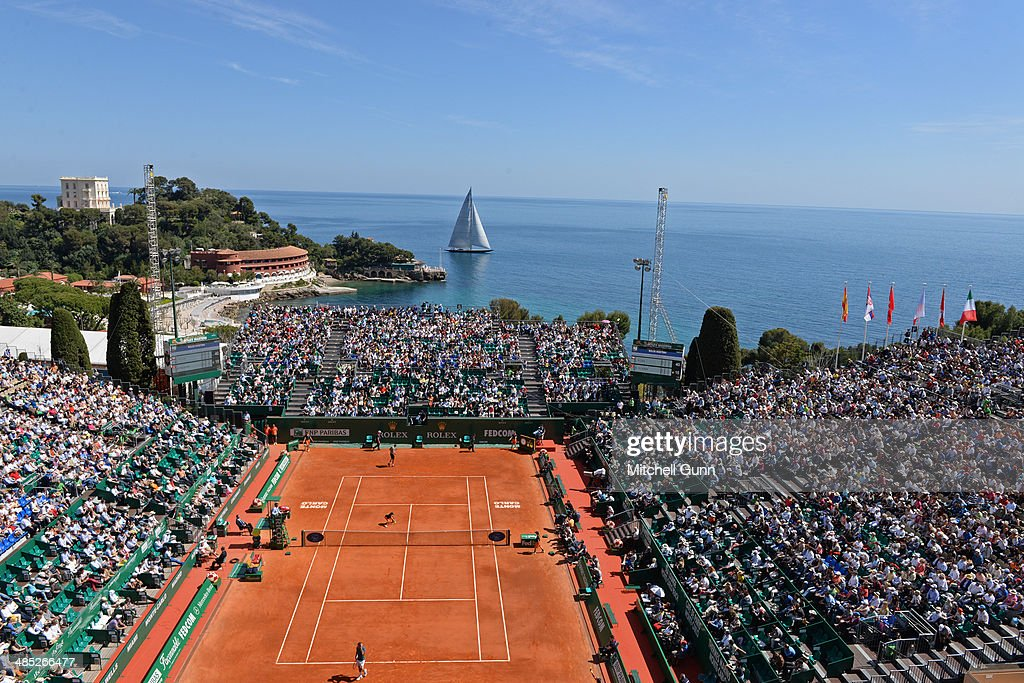 A general view of play as a large sailing boat goes past on day five of the ATP Monte Carlo Masters, at the Monte-Carlo Country Club on April 17, 2014 in Monte-Carlo, Monaco.