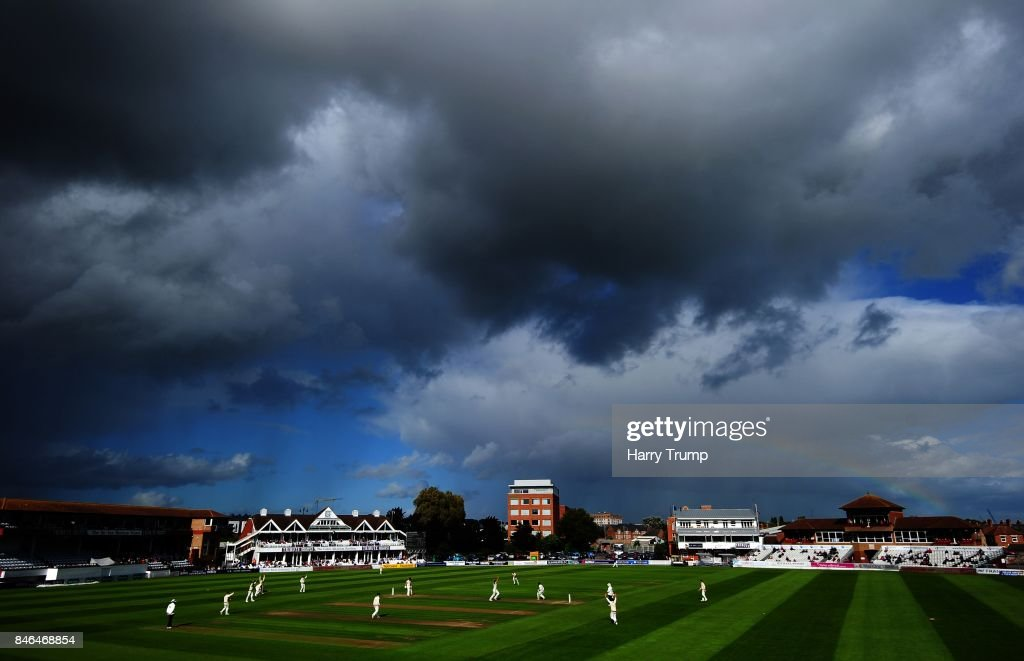 General view of play as a rainbow appears over the ground during Day Two of the Specsavers County Championship Division One match between Somerset and Lancashire at The Cooper Associates County Ground on September 13, 2017 in Taunton, England.
