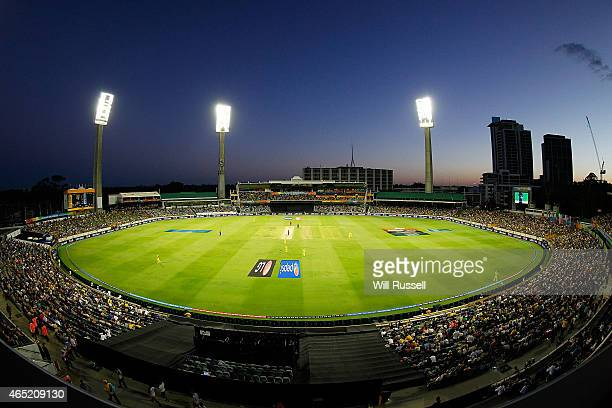 A general view of play as Afghanistan start their innings under lights during the 2015 ICC Cricket World Cup match between Australia and Afghanistan...